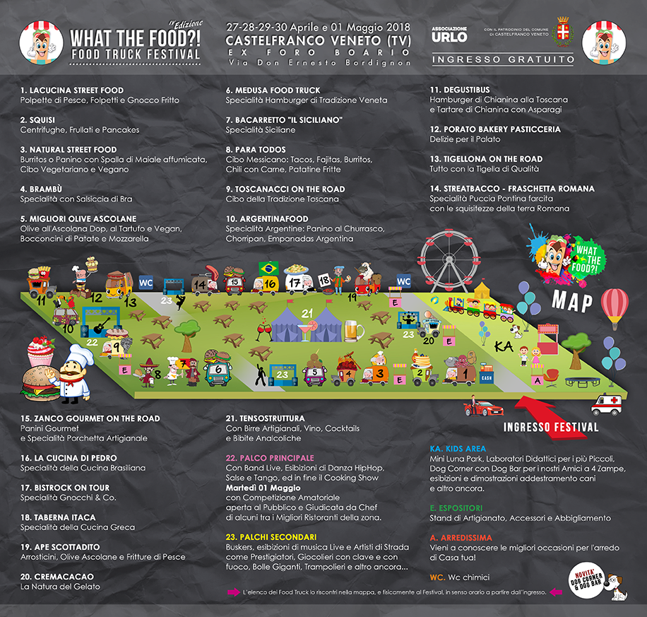 MAPPA WHAT THE FOOD 2018 CASTELFRANCO VENETO